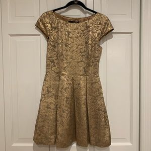 French Connection Dresses - Gold floral embroidered a-line dress from FC